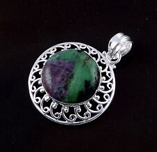 Natural Ruby Zoisite Cabochon Gemstone 925 Sterling Silver Pendant With Loop