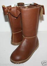 baby Gap NWT Girl's 9 10 Brown Boots - Faux Leather Riding Boots w/ Bow
