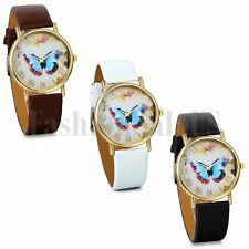 Fashion Womens Watches Butterfly Leather Strap Analog Quartz Wrist Watch Gift