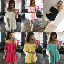 Sexy Casual Women Off-shoulder Summer Evening Cocktail Party Short Mini Dress