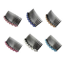 Women Lady Plastic Bling Rhinestone Hair Comb Clip Slide Hairclip 2pcs