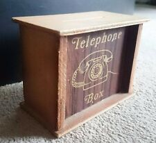 Vintage Wooden Telephone Money Box Rare Retro Bank Antique Collectable