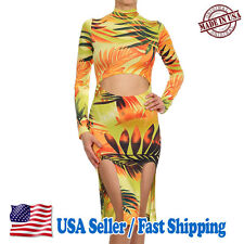 Womens Tropical Print Mock Turtle Neck Long Sleeve Dress Cocktail Party CD8111_K