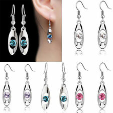 1Pair Fashion Women Silver Water Drop Crystal Dangle Hook Earring Jewelry Gift