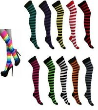 New Ladies Over The Knee Stripy / Stripey / Striped Socks Variety Of Colours