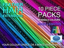 Feather Hair Extensions X-XXL Single Colours Tool Beads Kits Options+FREE $7Gift