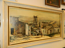 A  Mediterranean Village Oil Painting on Canvas signed framed