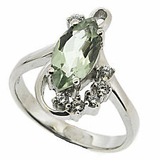 925 Sterling Silver 1.8 ct Natural Green Amethyst & White CZ Ring