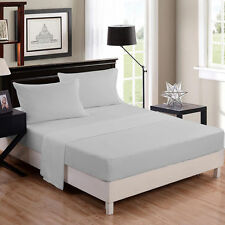 1500TC Egyptian Cotton EXTRA DEEP Pocket Solid Silver Grey sheet set Queen Size