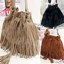 Fashion Women's Leather Tassel Bucket Handbag Shoulder Crossbody Messenger Bag