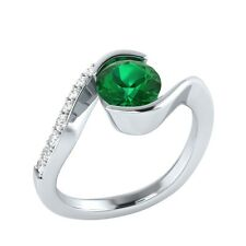 0.75 ct Real Emerald & Certified Diamond Solid Gold Wedding Engagement Ring