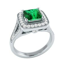 1.50ct Natural Emerald & Certified Diamond Solid Gold Wedding Engagement Ring