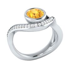 0.75 ct Natural Citrine & Authentic Diamond Solid Gold Wedding Engagement Ring