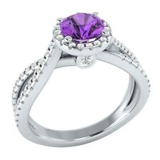 1.00 ct Natural Amethyst & Certified Diamond Solid Gold Wedding Engagement Ring