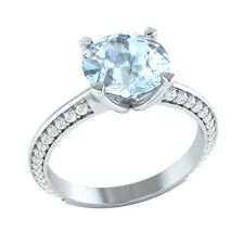 2.25ct Natural Aquamarine & Certified Diamond Solid Gold Wedding Engagement Ring