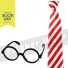 Unisex Adult Kids Tie Stripe Red White Glasses Set Fancy Dress Book Comic