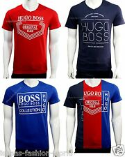 Hugo Boss Men's V neck 100% Cotton Graphic printed Tee t-shirt NWT size S M L XL