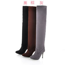 HOT Women new winter fashion high heel boots platforms over knee suede long Boot
