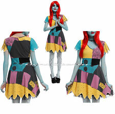 Disney The Nightmare Before Christmas Sally Rag Doll Cosplay Costume Dress MESH