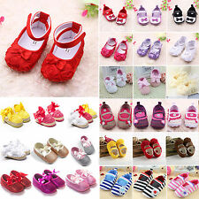 Newborn Baby Girls Soft Sole Pram Shoes Toddler Slip-on Crib Sandals 0-18 Months