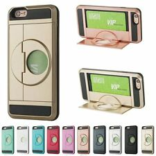 Hard Armor Stand Case Cover With Slide Card Slot Holder For iPhone 5S 6 6S Plus