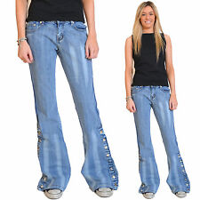 New Ladies Womens Blue 60s 70s Bellbottoms Retro Flares Flared Jeans Trousers