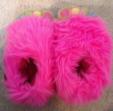 Girls-Slippers-Large-Size-1-2-Bright-Pink-Furry-Feet-Painted-Toe-Nails-Faux-Fur