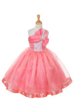 New Satin Organza One Shoulder Flower Girls Dress Easter Party Christmas Pageant