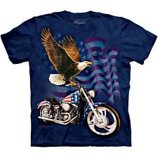 BORN TO RIDE T-Shirt The Mountain American Flag Bald Eagle Biker S-3XL NEW