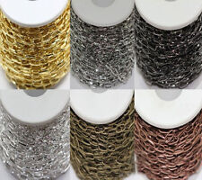 Lots 1/5/10M Gold/Silver Plated Iron Chain Open Link Cross Chain Findings 10x5MM