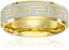 Men's Stainless Steel 18 K Gold Plated with Greek Key Design Ring, Size 11