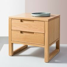 Bruno 2 Drawer Timber Bedside Table - Solid Oak Wood - 42x50x46cm
