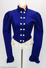 Steampunk Blouse Royal Blue Cotton Victorian Era Ladies Double Breasted Blouse