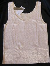 J.CREW HEATHERED SEQUIN TANK TOP  IVORY, NEON PEACH XSMALL, SMALL $128 NWT