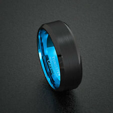 Mens Wedding Band Tungsten Ring Two Tone 8mm Black Brushed Bevel Edge Blue