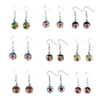 Lady Retro Round Style Faceted Pendant Beads Dangling Hook Earrings Pair