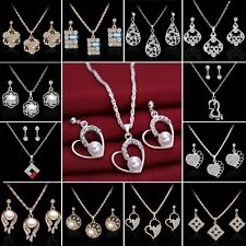 2017 18K Sapphire Crystal Pearl Necklace Earrings Set Engagement Wedding Jewelry