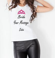 Customised Personalised Bride Wedding Women T shirt Vest Top Gift Special Days
