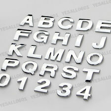 3D Chrome Metal Letter Number Car Motorcycle Character Badge Sticker Decals DIY