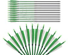 "Archery Hunting Arrow 31""  Handmade Green Shield Feather Carbon Arrows Screw Tip"