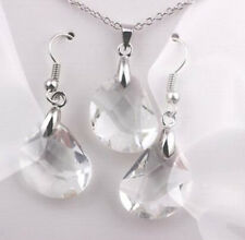 Shiny Fashion Necklace Earrings Jewelry Set Womens Crystal White Gold Plated