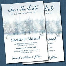 Personalised Wedding Day Save the Date Cards & Envelopes, Winter Wonderland