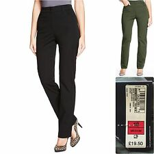 M&S 16 18 20 22 Cotton Rich Straight Leg Trousers Added Stretch Black New £19.50