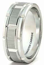 Mens Wedding Band 8mm White Tungsten Ring Brushed Sections Comfort Fit
