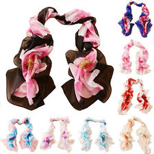 Fashion Hot Flowers Girls Women Long Soft Wrap Lady Shawl Silk Chiffon Scarf New