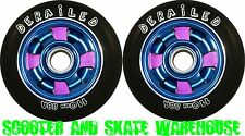 2 X 110mm METAL CORE DERAILED SCOOTER WHEELS BLUE/PINK - FREE DELIVERY