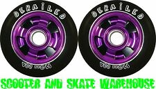 2 X 110mm METAL CORE DERAILED SCOOTER WHEELS PURPLE - FREE DELIVERY