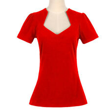 Women Red Rockabilly Retro Vintage 50s Pin-up Top Shirt