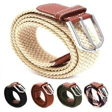 Mens Woven Stretch Elastic Braided Leather Buckle Belt Womens Waistband Belts G