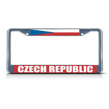 CZECH REPUBLIC FLAG Metal License Plate Frame Tag Border Two Holes